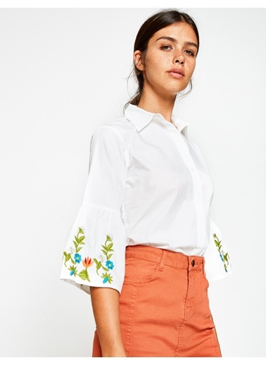 İspanyol Kol Desenli Gömlek-Koton